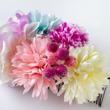 HA-0302 成人式 卒業式 お花 髪飾り 和風オリジナル髪飾り ピンク グラデーション 水色 ベージュ 日本製