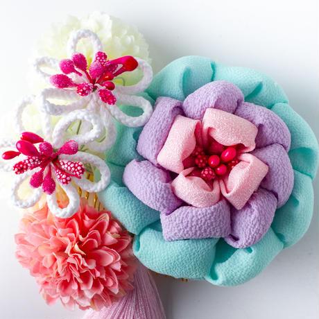 HA-0487 成人式 卒業式 お花 髪飾り 和風オリジナル髪飾り 水色 パープル ピンク まんじゅうつまみ細工 日本製