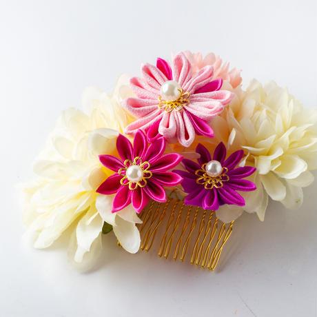 HA-0340 成人式 卒業式 お花 髪飾り 和風オリジナル髪飾り 白 ピンク マム花 つまみ細工 日本製