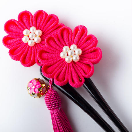 HA-0465 成人式 卒業式 お花 髪飾り 和風オリジナル髪飾り ピンク つまみ細工 フリンジ かんざし 日本製