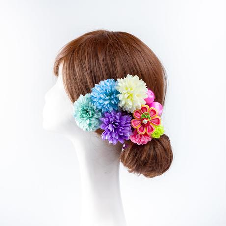 HA-0547 成人式 卒業式 お花 髪飾り 和風オリジナル髪飾り Uピン9本 緑 白 水色 パープル ピンク つまみ細工 日本製
