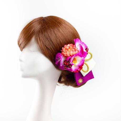 HA-0321 成人式 卒業式 お花 髪飾り 和風オリジナル髪飾り 紫 ちりめん布 金組紐 日本製