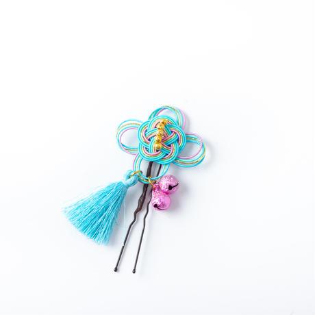 HA-0544 成人式 卒業式 お花 髪飾り 和風オリジナル髪飾り Uピン8本 白 ピンク 黄色 緑 水引 日本製