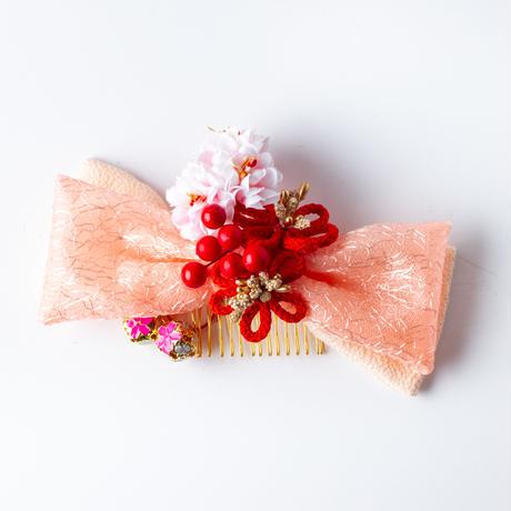 HA-0461 成人式 卒業式 お花 髪飾り 和風オリジナル髪飾り 和風リボン ピンク 赤 組紐  赤の実 金の鈴 和風リボン 日本製
