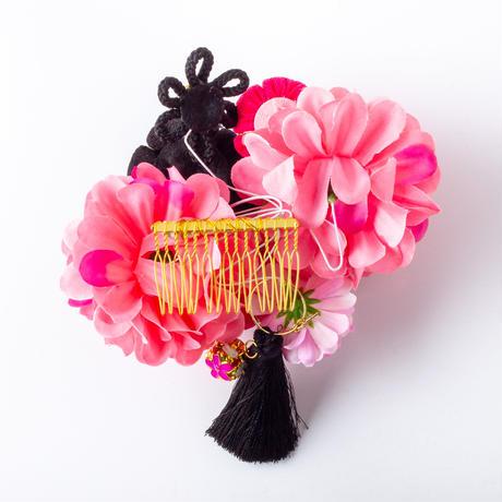 HA-0463 成人式 卒業式 お花 髪飾り 和風オリジナル髪飾りパープル ピンク 黒 まんじゅうつまみ細工 フリンジ 日本製