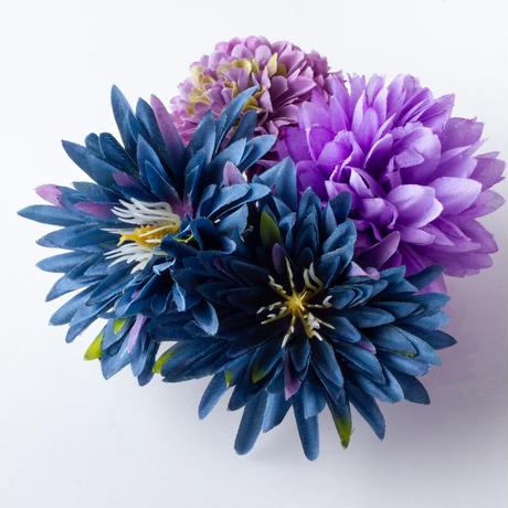 HA-0451 成人式 卒業式 お花 髪飾り 和風オリジナル髪飾り 紫 紺 モダン ダブルデザイン 水引細工 日本製