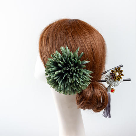 HA-0466 成人式 卒業式 お花 髪飾り 和風オリジナル髪飾り 緑 つまみ細工 金鈴 モダン かんざし 日本製