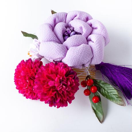 HA-0490 成人式 卒業式 お花 髪飾り 和風オリジナル髪飾り 紫 まんじゅうつまみ細工 フリンジ 日本製