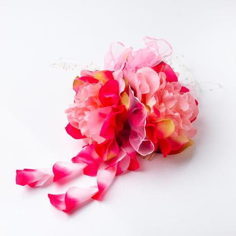 HA-0099 成人式 卒業式 お花 髪飾り 和風オリジナル髪飾り ピンク グラデーション 垂れ飾り 日本製