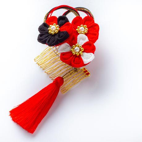 HA-0536 成人式 卒業式 お花 髪飾り 和風オリジナル髪飾り 赤 黒 つまみ細工 水引 フリンジ 日本製