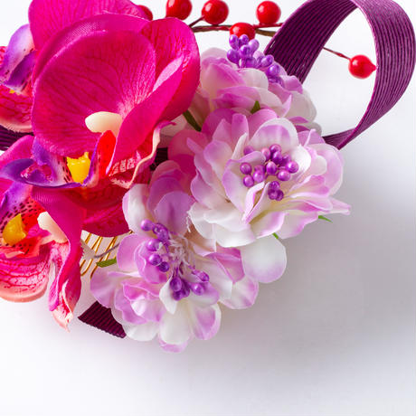 HA-0404 成人式 卒業式 お花 髪飾り 和風オリジナル髪飾り パープル グラデーション 水引細工 かんざし 南天の実 日本製