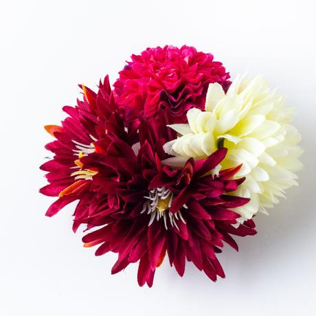 HA-0453 成人式 卒業式 お花 髪飾り 和風オリジナル髪飾り 赤 紫 ダブルデザイン 水引細工 帯飾り 日本製