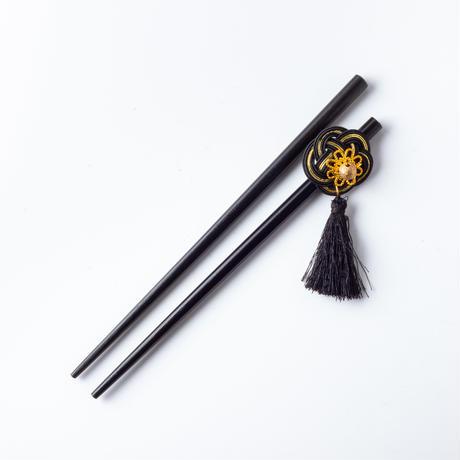 HA-0395 成人式 卒業式 お花 髪飾り 和風オリジナル髪飾りパープル 赤 水引細工 ダブルデザイン ファー 花指輪 日本製