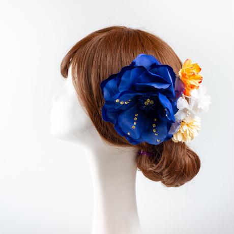 HA-0137 成人式 卒業式 お花 髪飾り 和風オリジナル髪飾り 青 紺 オレンジ ゴージャス 日本製