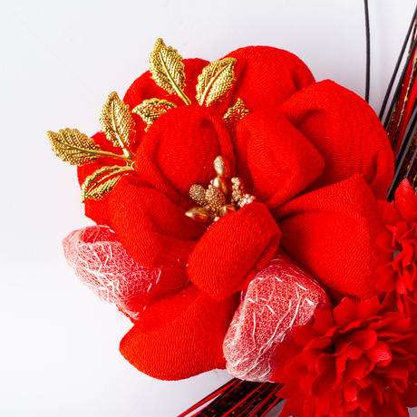 HA-0486 成人式 卒業式 お花 髪飾り 和風オリジナル髪飾り 赤 まんじゅうつまみ細工 水引細工 日本製