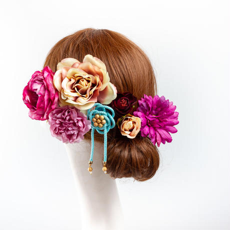 HA-0439 成人式 卒業式 お花 髪飾り 和風オリジナル髪飾り Uピン7本 ワインレッド 白 組紐飾り 日本製