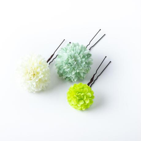 HA-0538 成人式 卒業式 お花 髪飾り 和風オリジナル髪飾り Uピン9本 白 パープル 緑 つまみ細工 鈴 日本製
