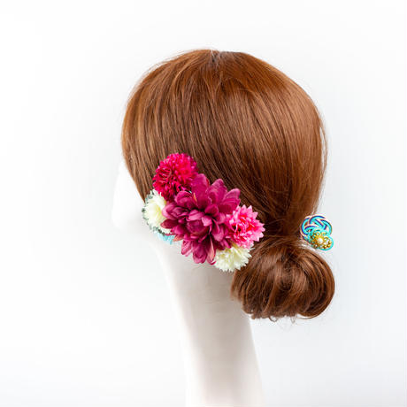 HA-0402 成人式 卒業式 お花 髪飾り 和風オリジナル髪飾りパープル ミント花 ダブルデザイン 水引細工 帯飾り 日本製