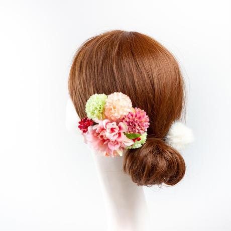 HA-0397 成人式 卒業式 お花 髪飾り 和風オリジナル髪飾り ピンク グラデーション マム花 ダブルデザイン ファー 花指輪 日本製