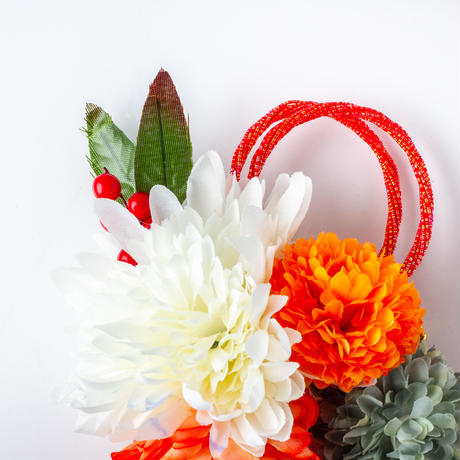 HA-0387 成人式 卒業式 お花 髪飾り 和風オリジナル髪飾り 白 オレンジ 緑 グラデーション ダブルデザイン ファー 花指輪 日本製