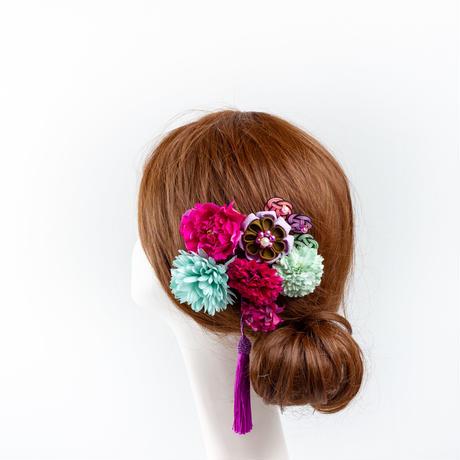 HA-0540 成人式 卒業式 お花 髪飾り 和風オリジナル髪飾り Uピン8本 パープル 緑 つまみ細工 水引 フリンジ 日本製