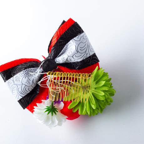 HA-0512 成人式 卒業式 お花 髪飾り 和風オリジナル髪飾り 黒 赤 紫 緑 型押し リボン 日本製