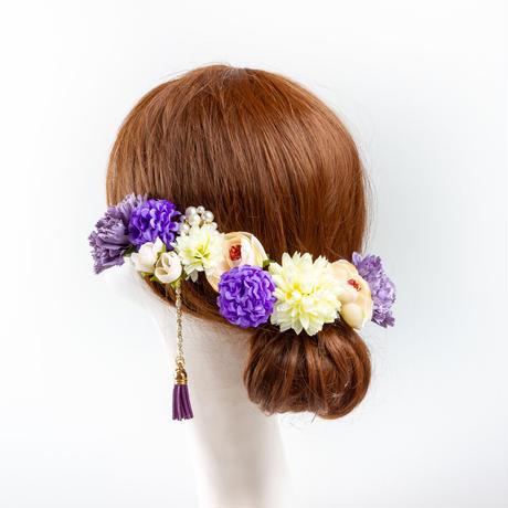 HA-0438 成人式 卒業式 お花 髪飾り 和風オリジナル髪飾り Uピン11本 パープル ベージュ 白 パール 垂れ飾り 日本製