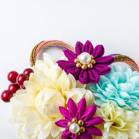 HA-0365 成人式 卒業式 お花 髪飾り 和風オリジナル髪飾り 白 紫 つまみ細工 日本製
