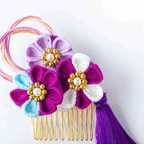 HA-0533 成人式 卒業式 お花 髪飾り 和風オリジナル髪飾り 紫 つまみ細工 水引 フリンジ 日本製