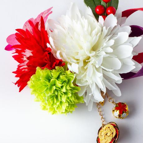 HA-0406 成人式 卒業式 お花 髪飾り 和風オリジナル髪飾り 白 赤 水引細工 垂れ飾り 南天の実 日本製