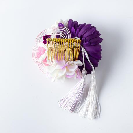 HA-0246 成人式 卒業式 お花 髪飾り 和風オリジナル髪飾り紫 白 ピンク フリンジ 日本製