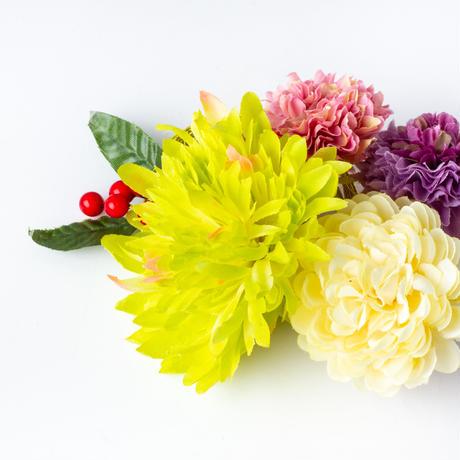 HA-0388 成人式 卒業式 お花 髪飾り 和風オリジナル髪飾り緑 紫 水引細工フリンジ ダブルデザイン ファー 花指輪 日本製