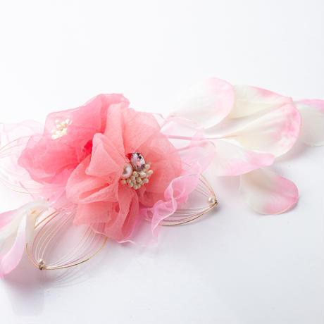 HA-0128 成人式 卒業式 お花 髪飾り 和風オリジナル髪飾り ピンク グラデーション水引細工 垂れ飾り 日本製