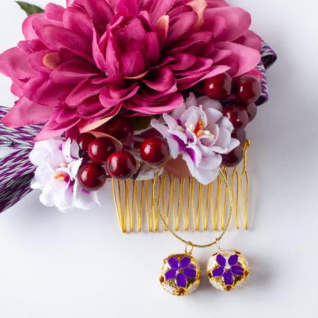 HA-0460 成人式 卒業式 お花 髪飾り 和風オリジナル髪飾り 紫 グラデーションエレガント ダブルデザイン 日本製