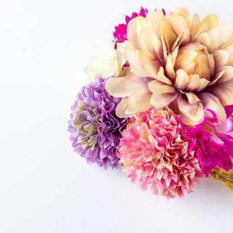HA-0401 成人式 卒業式 お花 髪飾り 和風オリジナル髪飾り パープル グラデーション 水引細工 帯飾り付 日本製