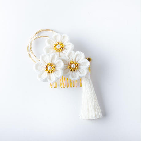 HA-0537 成人式 卒業式 お花 髪飾り 和風オリジナル髪飾り 白 金 つまみ細工 水引 日本製