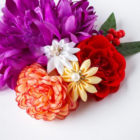 HA-0353 成人式 卒業式 お花 髪飾り 和風オリジナル髪飾り 紫 つまみ細工 日本製