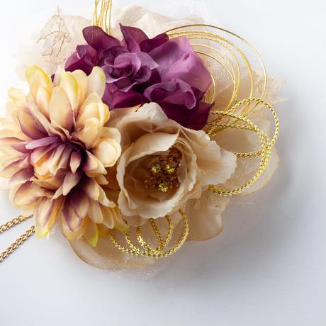 HA-0235 成人式 卒業式 お花 髪飾り 和風オリジナル髪飾り 紫 パープル ベージュ グラデーション 垂れ飾り 日本製