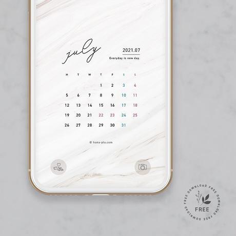 marble スマホ壁紙7月カレンダー @hanapla