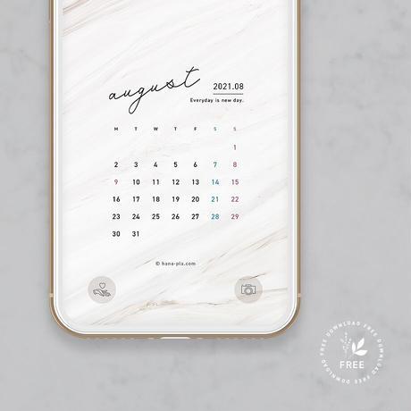 marble スマホ壁紙8月カレンダー @hanapla