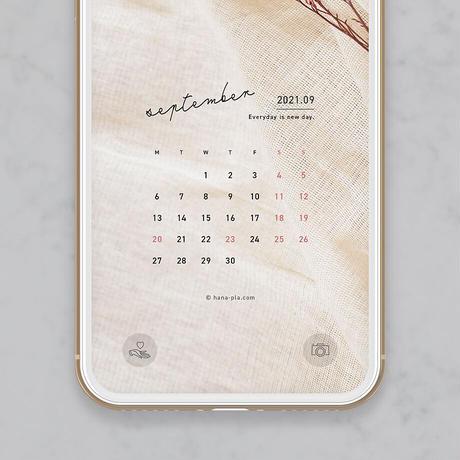 【9月】フェミニンテイストなナチュラルデザイン スマホ壁紙カレンダー @hanapla