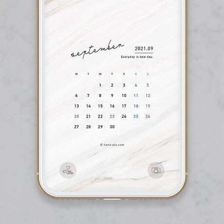 【9月】マーブル模様がおしゃれ スマホ壁紙カレンダー @hanapla
