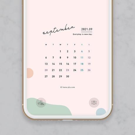 【9月】ベージュピンクと可愛めドット模様 スマホ壁紙カレンダー @hanapla