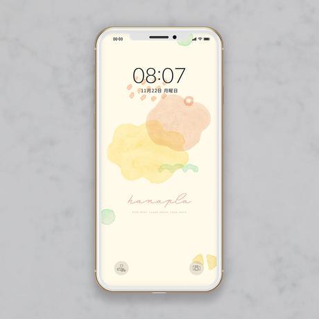 【シンプルデザイン】淡い水彩ペイントとパステルイエロー スマホ壁紙 @hanapla
