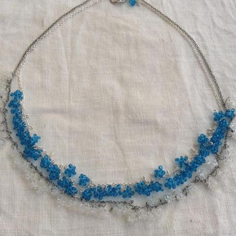 星の粒necklace 【中染アクアブルー、受注生産品】
