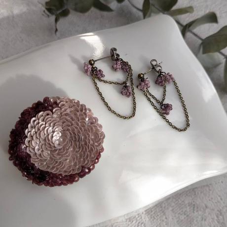 Rose  brooch  [pink&purple]