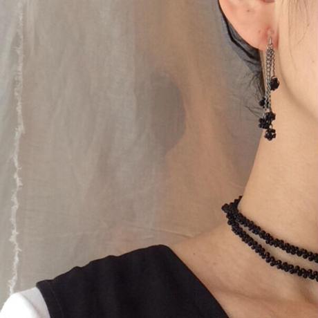 螺旋  black  【 pierce &earring】