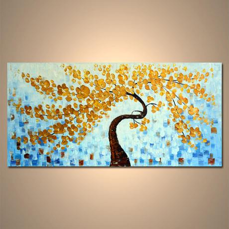 【art gallery】 絵画 モダン アートパネル 手書き 油絵 「木」 木枠フレーム付