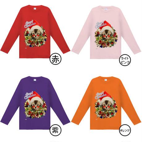 5.6オンス ヘビーウェイト長袖Tシャツ はにかみこねこのクリスマス(アメリカンショートヘア)