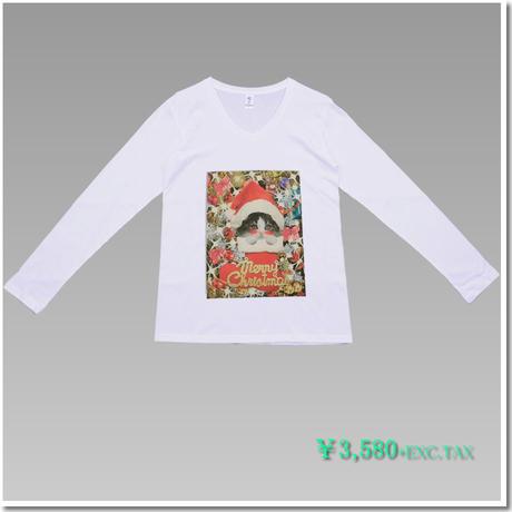 VラインTシャツ はにかみこねこのクリスマス(スコティッシュフォールド)